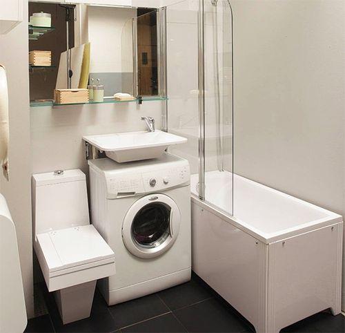 Стиральная машина с раковиной в дизайне ванной