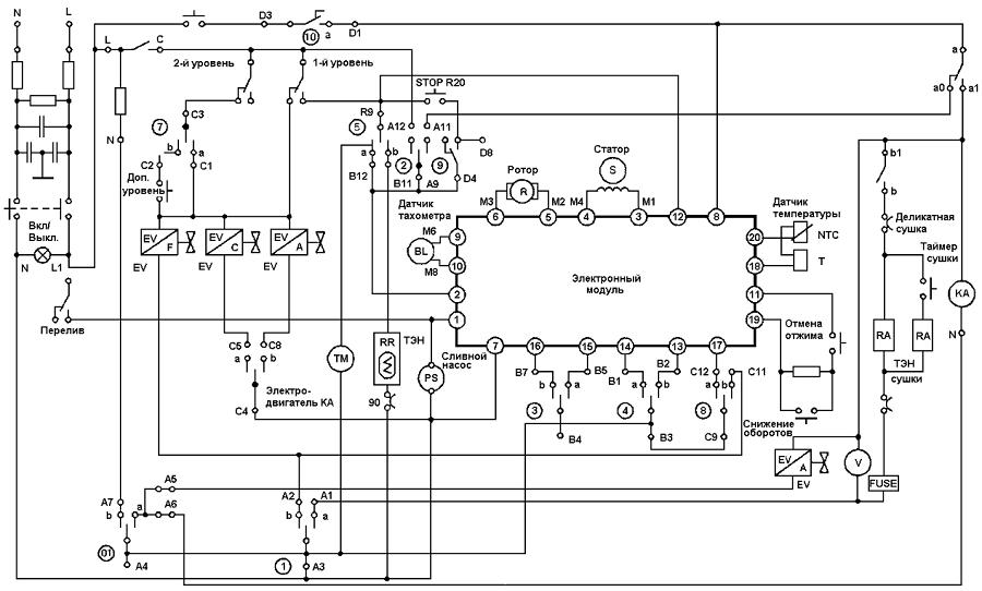 Электрическая схема стиральной машины Аристон