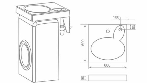 Пример установки раковины на стиральную машину