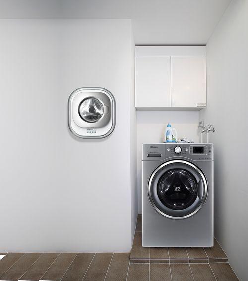 Настенная стиральная машинка в интерьере