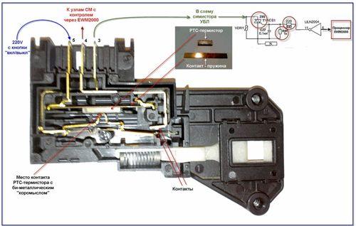 Схема замка стиральной машинки